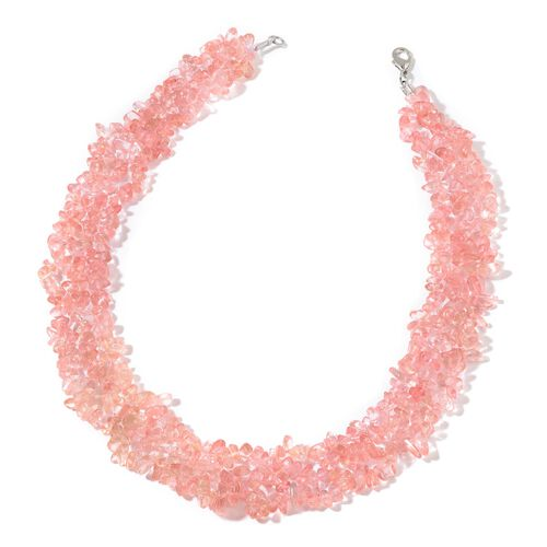 Cherry Quartz Necklace (Size 18) and Stretchable Bracelet (Size 7.50) in Rhodium Plated Sterling Sterling Silver 762.800 Ct.