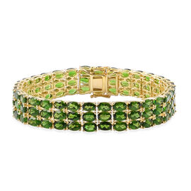 Russian Diopside (Ovl) Bracelet in Yellow Gold Overlay Sterling Silver (Size 7.5) 46.750 Ct.