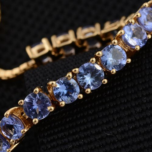 Tanzanite (Rnd) Bracelet (Size 6.5 to 7.25  ) in 14K Gold Overlay Sterling Silver 4.500 Ct.