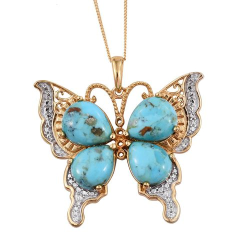 Arizona Matrix Turquoise (Pear) Butterfly Pendant With Chain in 14K Gold Overlay Sterling Silver 11.500 Ct.