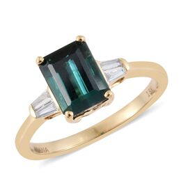 ILIANA 18K Yellow Gold 2 Carat AAAA Monte Belo Indicolite Octagon Ring With Side Diamond SI G-H