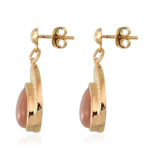 Morogoro Peach Sunstone (Pear) Earrings (with Push Back) in 14K Gold Overlay Sterling Silver 6.000 Ct.