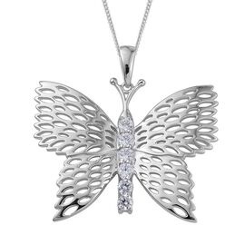 J Francis - ION Plated Platinum Bond (Rnd) Butterfly Pendant With Chain Made with SWAROVSKI ZIRCONIA