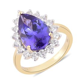ILIANA 18K Y Gold AAA Tanzanite (Pear 6.00 Ct), Diamond Ring 7.000 Ct.