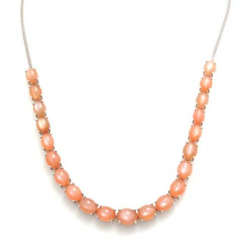 Sri Lankan Pink Moonstone (Ovl) Necklace (Size 18) in Platinum Overlay Sterling Silver 47.750 Ct.