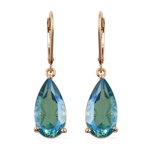 Peacock Quartz (Pear) Lever Back Earrings in 14K Gold Overlay Sterling Silver 10.000 Ct.