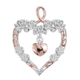 Platinum and Rose Gold Overlay Sterling Silver Heart Pendant, Silver wt 3.14 Gms.