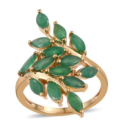 Kagem Zambian Emerald (Mrq) Leaves Crossover Ring in 14K Gold Overlay Sterling Silver 3.500 Ct.