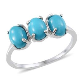 Arizona Sleeping Beauty Turquoise (Ovl) Trilogy Ring in Platinum Overlay Sterling Silver 2.750 Ct.