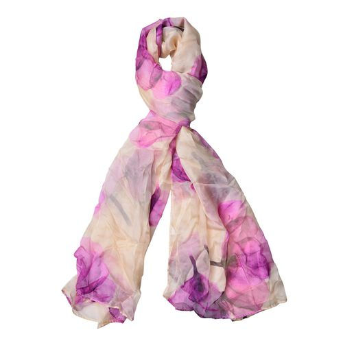 Purple and Cream Colour Floral Pattern Scarf (Size 170 x70 Cm)