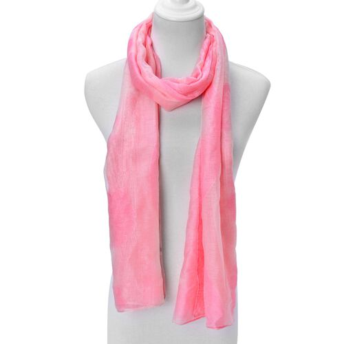 Floral Pattern Pink and White Colour Scarf (Size 180x80 Cm)