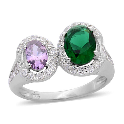 ELANZA AAA Simulated Amethyst, Simulated Emerald and Simulated White Diamond Ring in Rhodium Plated Sterling Silver