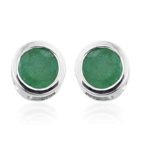 Zambian Emerald 1 Carat Solitaire Stud Earrings  in Platinum Overlay Sterling Silver