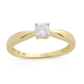 9K Yellow Gold 0.33 Carat Diamond Solitaire Ring