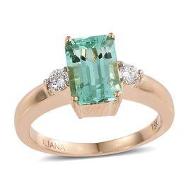 ILIANA 18K Y Gold Boyaca Colombian Emerald (Oct 2.25 Ct), Diamond Ring 2.500 Ct.
