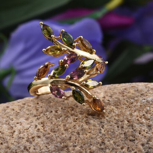 Rainbow Tourmaline (Mrq) Leaves Crossover Ring in 14K Gold Overlay Sterling Silver 1.750 Ct.