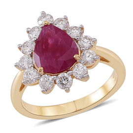 OTO - ILIANA 18K Y Gold Rare Size AAAA Burmese Ruby (Pear 2.75 Ct), Diamond Ring 3.750 Ct.