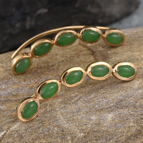 Green Jade (Ovl) Climber Earrings in 14K Gold Overlay Sterling Silver 6.250 Ct.
