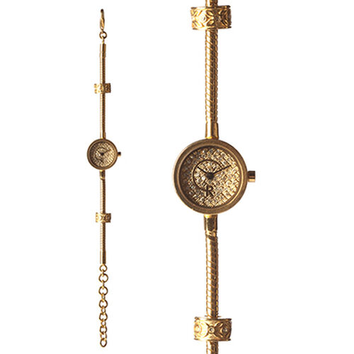 RACHEL GALLEY Japanese Movement 5 Micron Gold Plating Snake Bracelet Timepiece in Swaroski Crystal