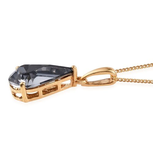 J Francis Crystal from Swarovski - Silver Night Crystal (Pear) Pendant With Chain in 14K Gold Overlay Sterling Silver