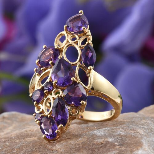 GP Amethyst (Pear 1.00 Ct), Kanchanaburi Blue Sapphire Ring in 14K Gold Overlay Sterling Silver 4.750 Ct.