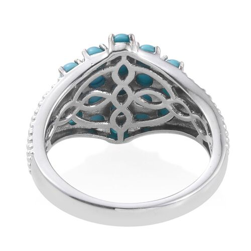 Arizona Sleeping Beauty Turquoise (Rnd) Cluster Ring in Platinum Overlay Sterling Silver 1.750 Ct.
