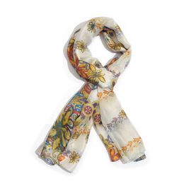 100% Mulberry Silk Multi Colour Floral, Leaves and Paisley Printed White Colour Scarf (Size 175x100 Cm)