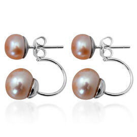 Fresh Water Peach Pearl Earrings (with Push Back) in Stainless Steel 10.000 Ct.