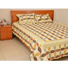 100% Cotton White, Yellow, Green and Multi Colour Floral and Leaves Printed Patchwork Quilt and 2 Pillow-Shams (230x250 cm / 50x75 cm)