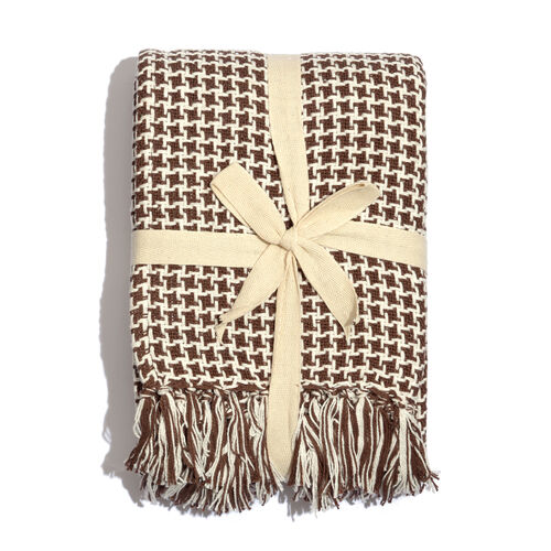100% Cotton Houndstooth Pattern Chocolate and White Colour Throw with Fringes (Size 150x125 Cm)