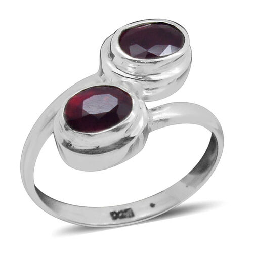 Royal Bali Collection African Ruby (Ovl) Adjustable Ring in Sterling Silver 2.010 Ct.