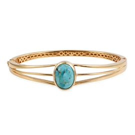 Arizona Matrix Turquoise (Ovl) Bangle (Size 7.5) in ION Plated 18K Yellow Gold Bond 6.250 Ct.