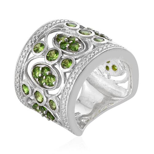Russian Diopside (Rnd) Ring in Platinum Overlay Sterling Silver 2.500 Ct.