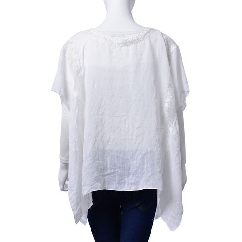 (Option 1) Lace Neckline Detail White Colour loose fitting Top (Size 85x65 Cm)