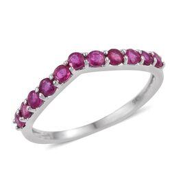 9K White Gold 1 Carat Burmese Ruby Wishbone Ring