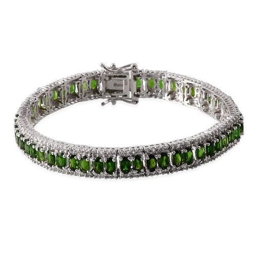 Russian Diopside (Ovl), White Topaz Bracelet in Platinum Overlay Sterling Silver (Size 7.5) 17.000 Ct.