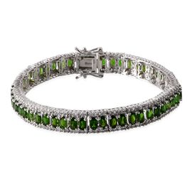 Russian Diopside (13.25 Ct),White Topaz Platinum Overlay Sterling Silver Bracelet (Size 7.5)  16.750  Ct.