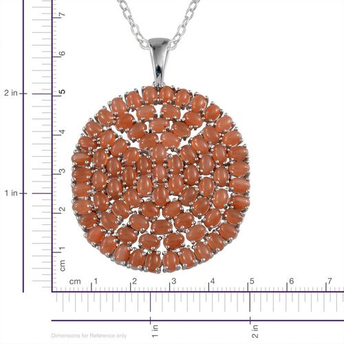 Mitiyagoda Peach Moonstone (Ovl) Cluster Pendant With Chain in Platinum Overlay Sterling Silver 27.250 Ct.
