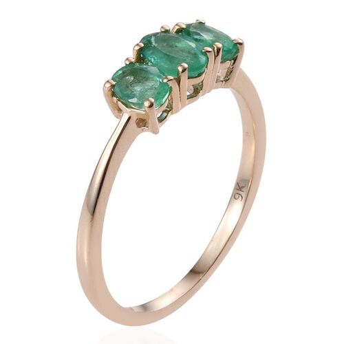 9K Y Gold Boyaca Colombian Emerald (Ovl) 3 Stone Ring 1.000 Ct.