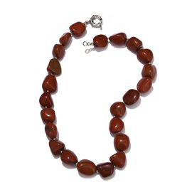 Red Jasper Necklace (Size 20) in Silver Tone 521.500 Ct.