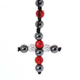 Hematite, Red and White Austrian Crystal Necklace (Adjustable)
