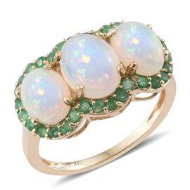 9K Y Gold AAA Ethiopian Welo Opal (Ovl 1.15 Ct), Brazilian Emerald Ring 3.150 Ct.