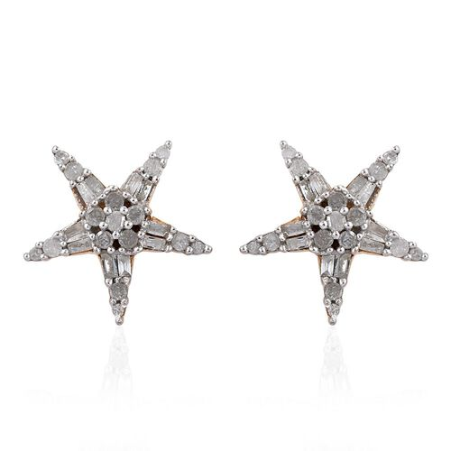 Mega Deal - Diamond (Rnd) Star Stud Earrings (with Push Back) in 14K Gold Overlay Sterling Silver 0.500 Ct.
