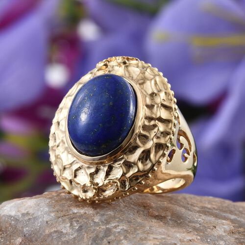 GP Lapis Lazuli (Ovl 9.70 Ct), Kanchanaburi Blue Sapphire Ring in 14K Gold Overlay Sterling Silver 9.750 Ct.