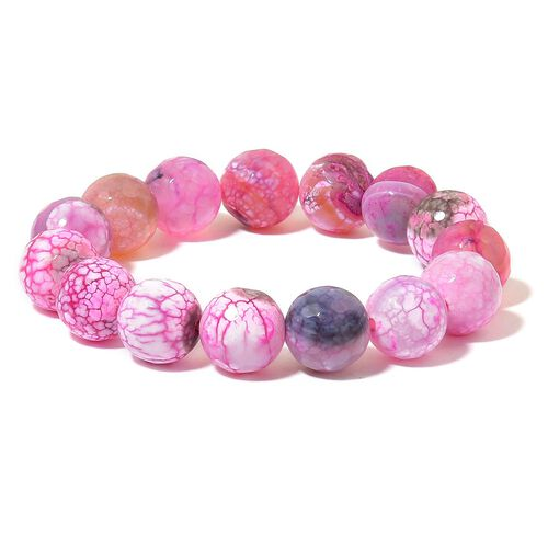 Pink Agate Beads Necklace (Size 18) with Magnetic Clasp and Stretchable Bracelet (Size 6.50) in Silver Tone 745.000 Ct.