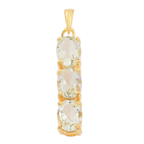 Green Amethyst (Ovl) Trilogy Pendant in 14K Gold Overlay Sterling Silver 3.500 Ct.