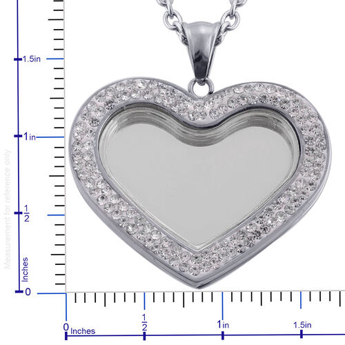 Glass, White Austrian Crystal Heart Locket Pendant With Chain (Size 20) in Stainless Steel