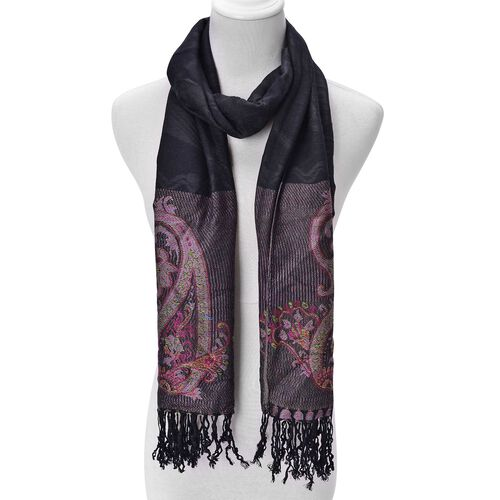 Pink and Multi Colour Floral and Paisley Pattern Black Colour Scarf with Fringes (Size 170x68 Cm)