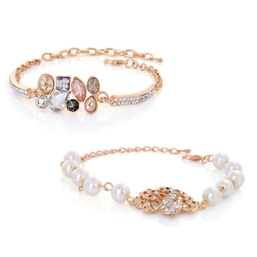 Set of 2 - Black and White Austrian Crystal, Multi Colour Glass and Resin Pearl Bracelet (Size 7.50) in Gold Tone