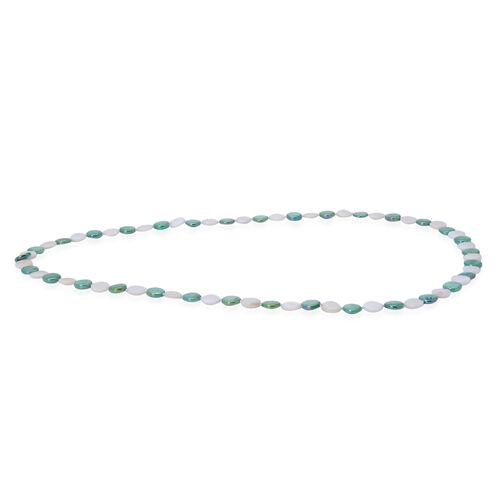 White and Green Colour Shell, Simulated White Diamond Necklace (Size 34) 210.000 Ct.